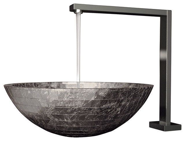 Vessel Designer Bathroom Sink, Silver Leaf - Modern - Bathroom Sinks ...