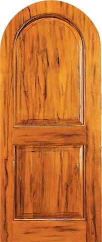 RA 460 Round Top Raised 2 Panel Tropical Rustic Hardwood Entry Single Door