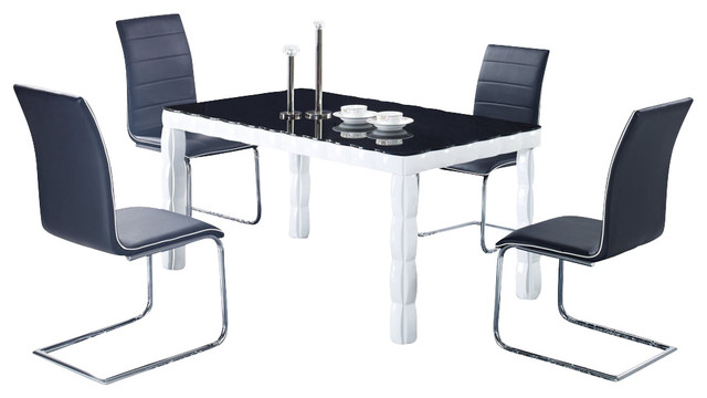 Global Furniture Usa 8055dt 5 Piece Glass Top Dining Room