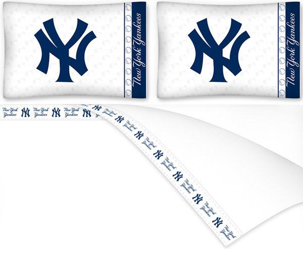 MLB New York Yankees King Sheet Set Baseball Logo Bedding Traditional She