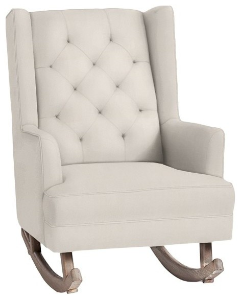Tufted Wingback Rocker Contemporary Rocking Chairs