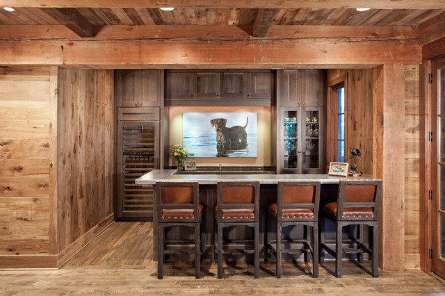 Northern Wisconsin Cabin Rustic Home Bar Minneapolis