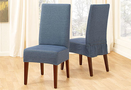Denim short dining chair cover contemporary slipcovers for 4 dining room chair covers