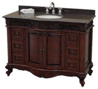 Pegasus Estates Vanity in Rich Mahogany with Granite Vanity Top - Traditional - Bathroom ...