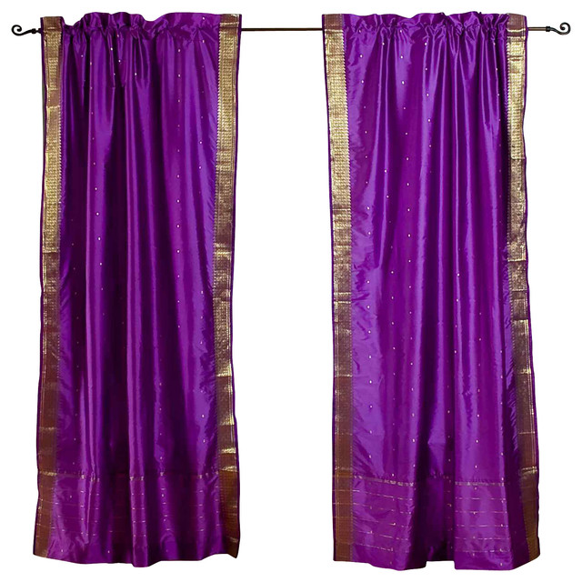 purple 84 inch rod pocket sheer sari curtain panel india
