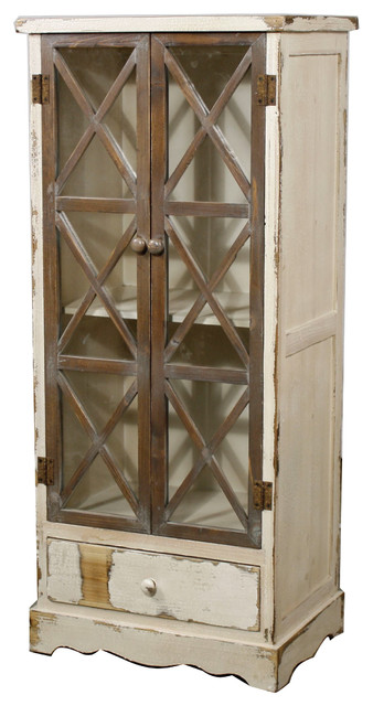 Tuscany Cabinet With Glass Door, Rustic White - Farmhouse - China Cabinets And Hutches - by New ...