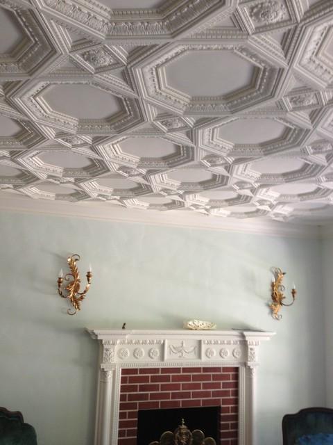 Traditional Italian Living Room Sets: Italian Coffered Plaster Ornamental Ceiling
