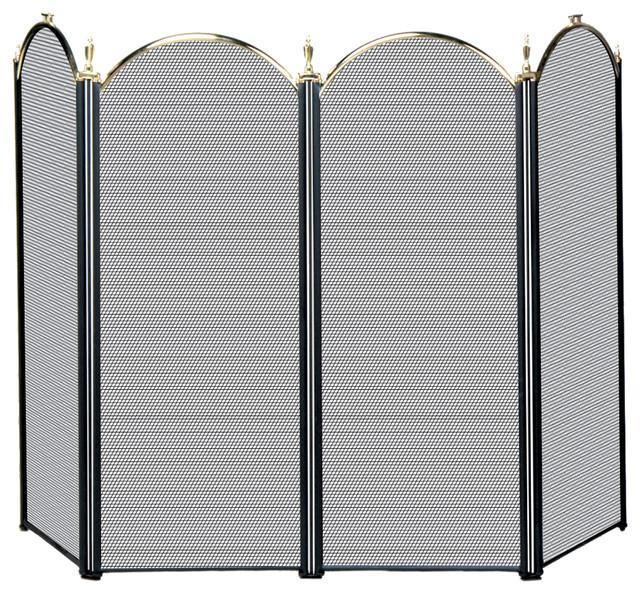 4 fold screen transitional fireplace screens by blue rhino uniflame - Houzz fireplace screens ...