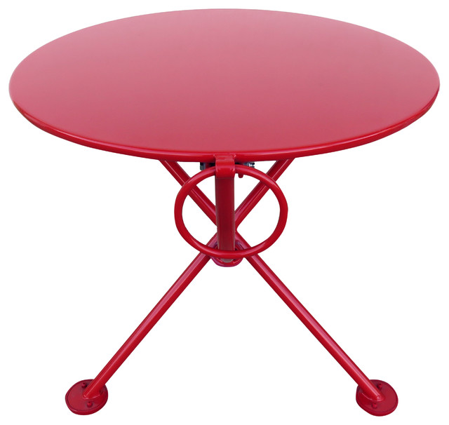 French Cafe Bistro 3 Leg Folding Coffee Table Flame Red 20 Round Metal Top Contemporary