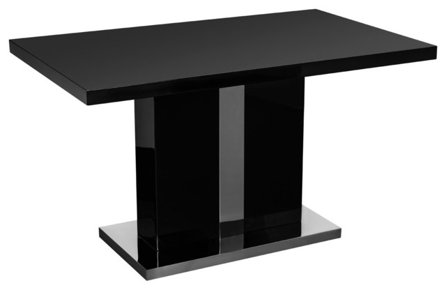 Black high gloss dining table with a pillar leg for Pillar dining table