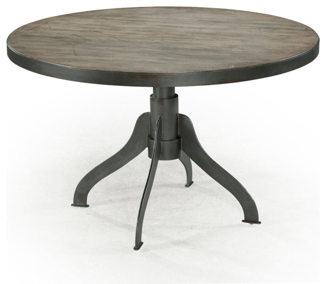 Round Dining Table Natural Distressing Finish Farmhouse Dining Tables
