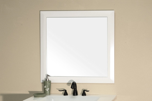 bellaterra 203054 solid wood frame mirror white in modern bathroom mirrors