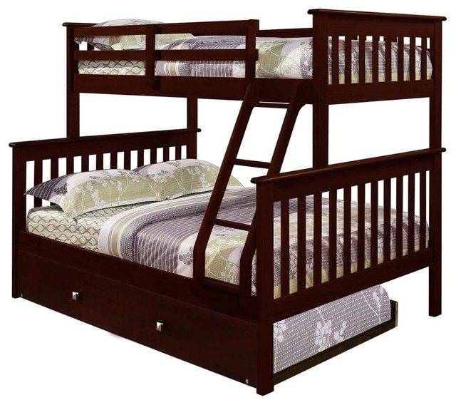 Twin Over Full Bunkbed With Trundle Sleeps 3 Craftsman Bunk Beds