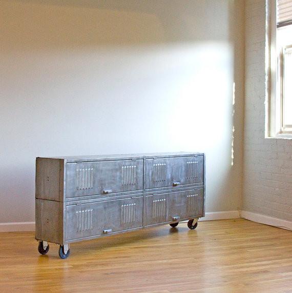 Repurposed, Brushed Steel, Vintage Locker Consoles ...