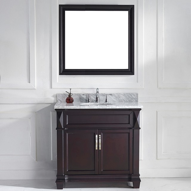 Virtu usa victoria 36 inch espresso single round sink for Virtu usa caroline 36 inch single sink bathroom vanity set