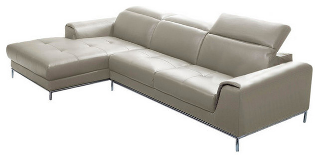 1727 premium leather modern sectional sofa modern for Beige sectional with chaise
