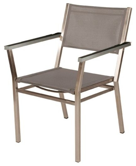 Stainless Steel Stacking Armchair Modern Outdoor Dining Chairs by Front