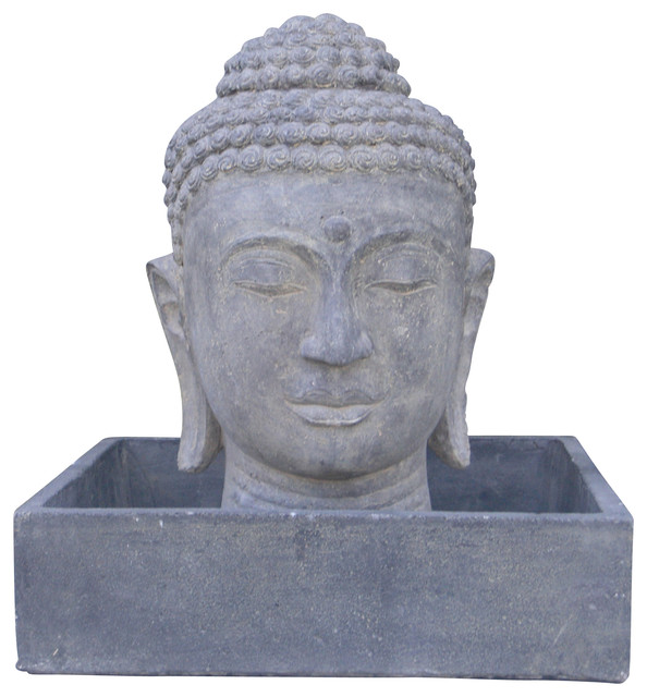 Large Buddha Head Fountain: Outdoor Fountains And