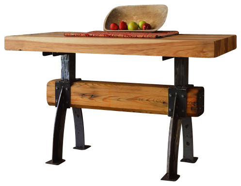 butcher block post and beam table rustic kitchen