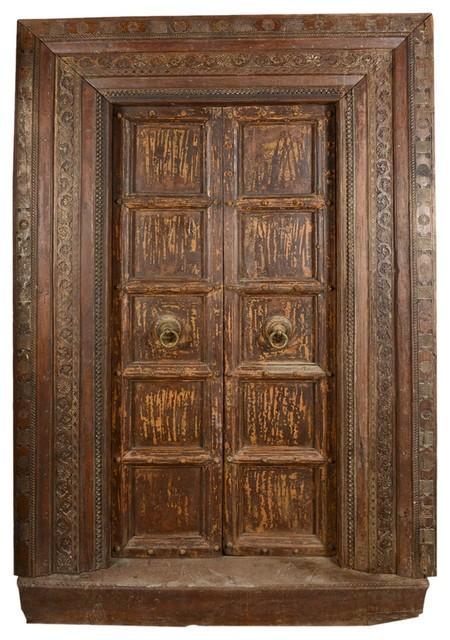 Gothic Salvage Teak Wood Double Door & Frame - Traditional - Interior Doors - by Sierra Living ...