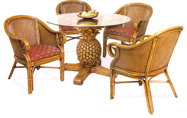 tropical dining room furniture | Sunset Reef Rattan and Wicker Tropical 6-Piece Dining Set ...