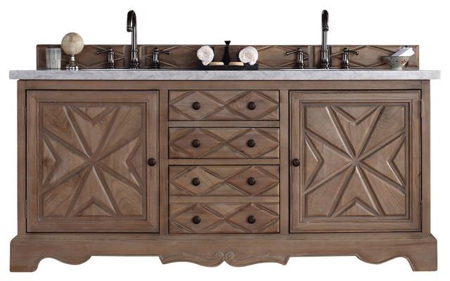 Mediterranean Bathroom Sinks: Normandy Weathered Oak Double Vanity Cabinet