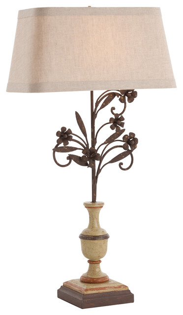 la rochelle painted solid wood rusted iron lamp transitional table lamps. Black Bedroom Furniture Sets. Home Design Ideas