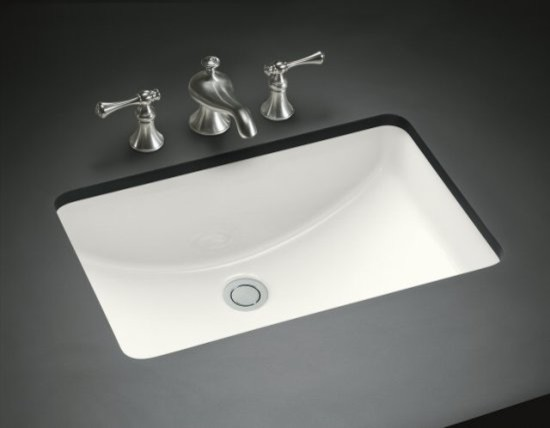 "KOHLER K-2214-0 Ladena 20-7/8"" x 14-3/8"" x 8-1/8"" Under-Mount Bathroom Sink - Contemporary ..."