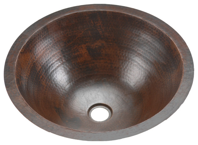 Round Undercounter Hammered Copper Sink 17 Rustic Bathroom Sinks