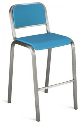 Nine 0 stacking barstool soft back brushed seat blue modern bar stools and counter - Teal blue bar stools ...