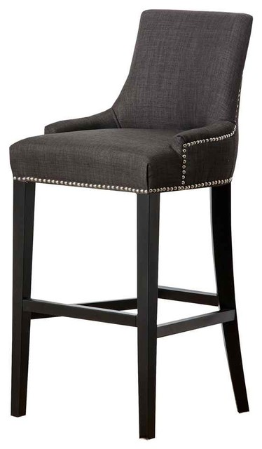 Hudson Fabric Nailhead Trim Bar Stool Grey Contemporary