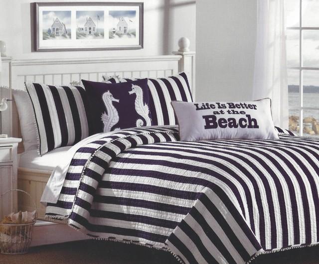 Navy Amp White Cabana Striped Bedding Set Tropical
