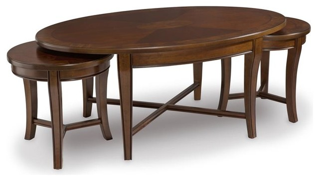Magnussen Kingston Wood Bunching Cocktail Table Traditional Coffee Tables