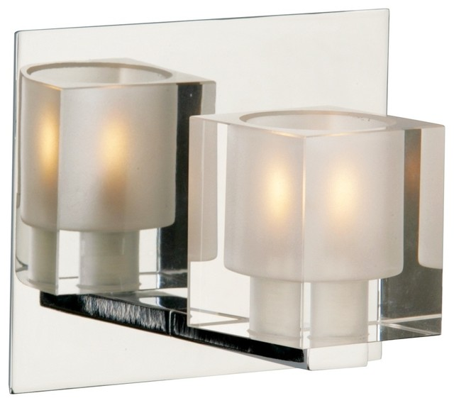 Glass Bathroom Wall Sconces : Blocs Collection Glass Chrome One Light Wall Sconce - Contemporary - Bathroom Vanity Lighting ...