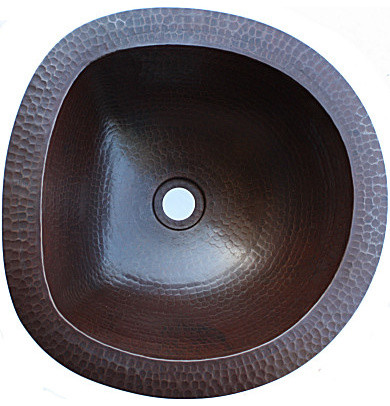 Undermount d shaped hammered bathroom copper sink for Hammered copper undermount bathroom sink