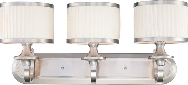 Vanity Light No Shades : Nuvo Lighting 60-4733 Candice 3-Light Vanity Fixture with Pleated White Shades - Transitional ...