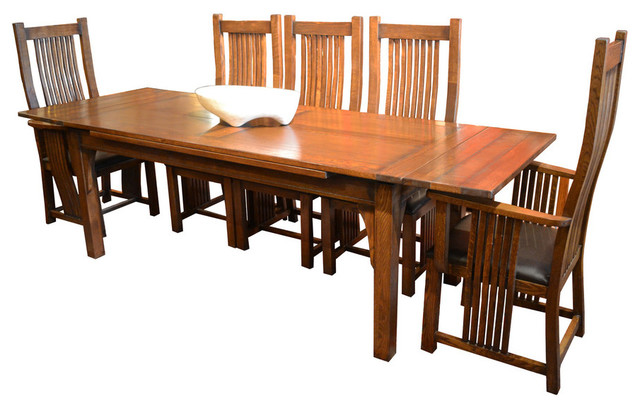 Arts Crafts Oak Dining Table With 2 Leaves And 8 High Back Chairs Cra