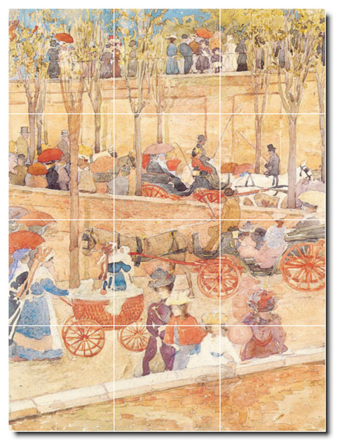 Maurice prendergast city painting ceramic tile mural 91 for Ceramic mural painting