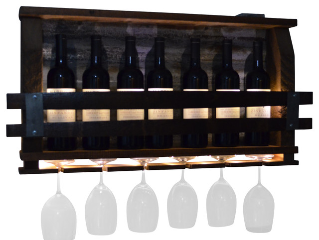 Lighted Wine Rack - Rustic - Wine Racks - by All About Barrels
