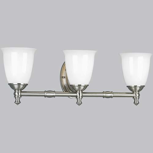 P3029 09 Victorian Brushed Nickel Three Light Bath Fixture Modern Bathroom Vanity Lighting