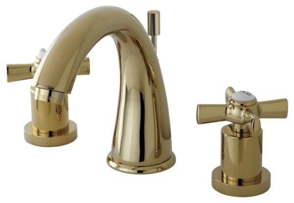 Kingston brass millennium polished brass widespread lavatory faucet