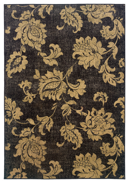 Oriental Weavers Stella Floral Black Beige Rug Farmhouse Area Rugs by O