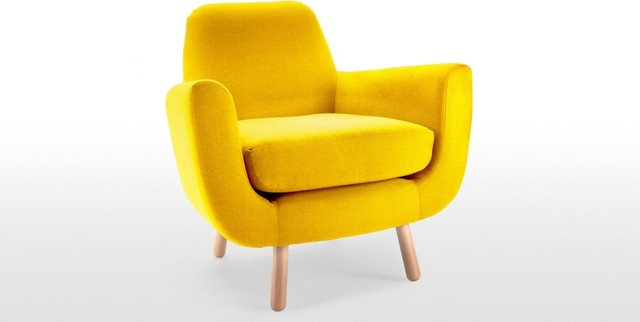 armchair in dandelion yellow contemporary armchairs and accent chairs