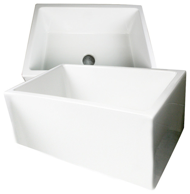 Fireclay Apron Sink : ... Sinks Fireclay 24 Farmhouse Apron Sink contemporary-kitchen-sinks