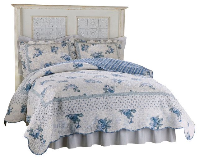 Rose Blossom Blue Full Queen Quilt Traditional Quilts