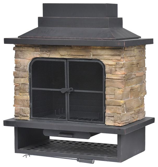 Garden treasures brown steel outdoor wood burning fireplace contemporary outdoor fireplaces - Contemporary wood furniture burning fireplaces ...