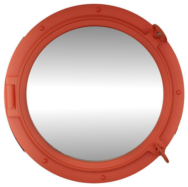 Porthole mirror orange 24 beach style wall mirrors for Porthole style mirror