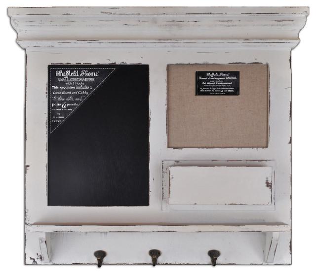 Burlap, Chalk Framed Wall Organizer with Hooks contemporary-bulletin ...