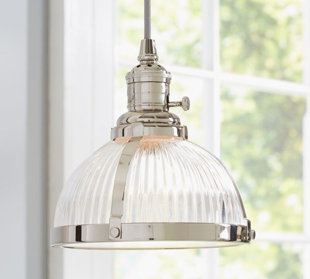 Pottery Barn Harlowe Pendant: PB Classic Pendant, Ribbed Glass Industrial-pendant-lighting