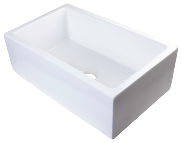 30 White Farmhouse Sink : Thick Fireclay Bowl Sink, White, 30